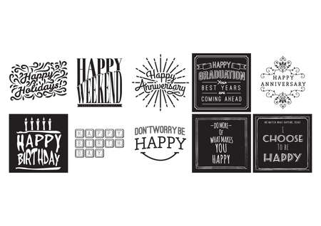 Collection of happy quotes and wishes Illustration
