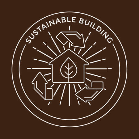 sustainable building label Ilustração
