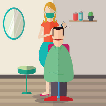 woman cutting hair Illustration