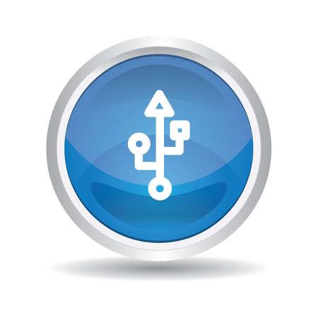 usb symbol button Illustration