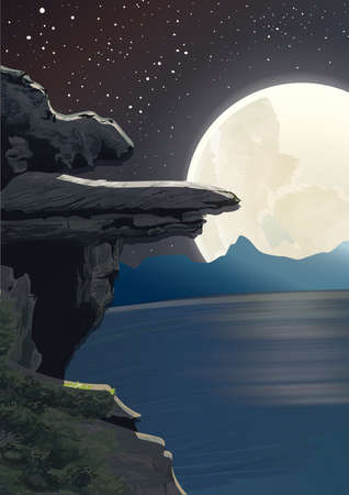 rock cliff and full moon Illustration