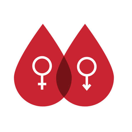 male and female symbol in blood drops