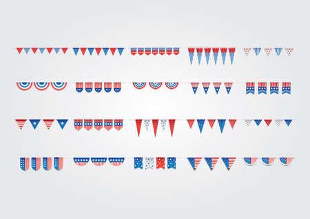 米国旗布のフラグ コレクション イラスト。  イラスト・ベクター素材