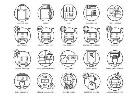 Raccolta di icone di shopping Archivio Fotografico - 81536674