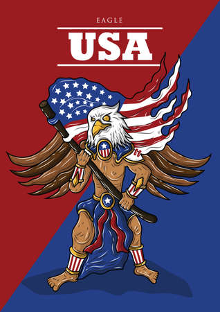 man with eagle mask holding american flag