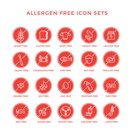 allergen free icon set