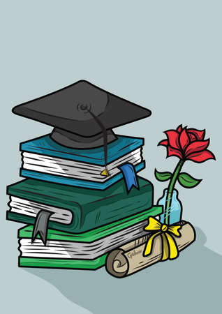 mortar board with books Ilustracja