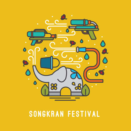 songkran festivalkaart Vector Illustratie