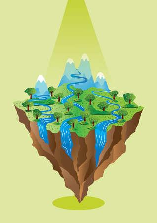 drijvend eiland Stock Illustratie