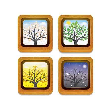 set of wooden frames Stock Illustratie