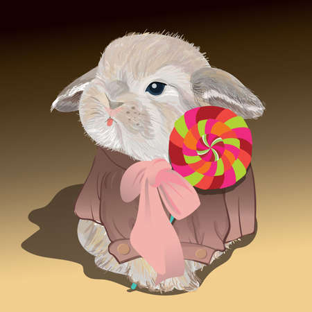 rabbit with candy Ilustracja