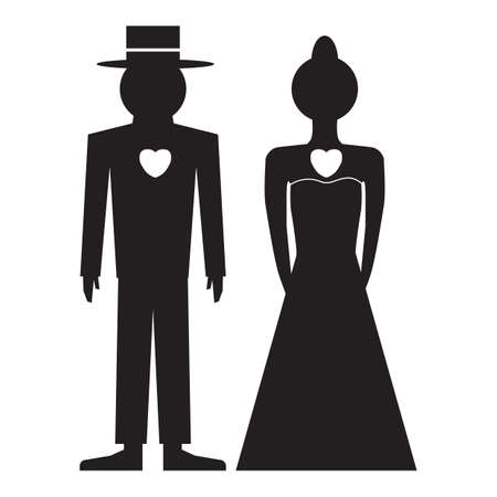 bride and groom silhouette 版權商用圖片 - 81536678