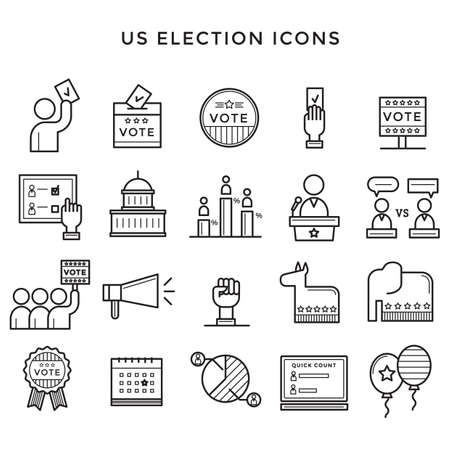 US election icons illustration. 向量圖像