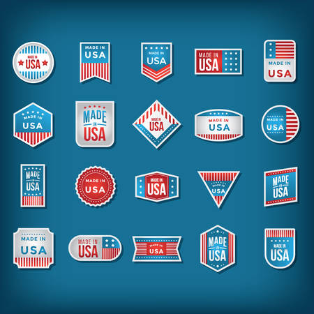 A made in USA labels collection illustration.