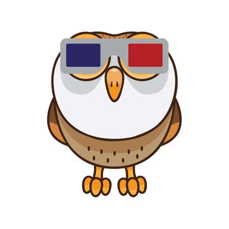 owl wearing 3d glasses Ilustração