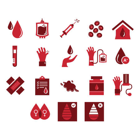 set of blood donation icons