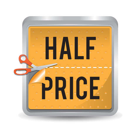 half price sticker 일러스트