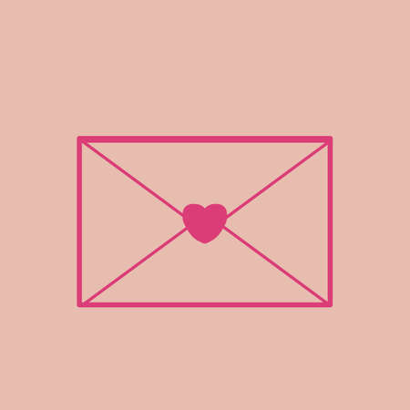 envelope with heart shape seal