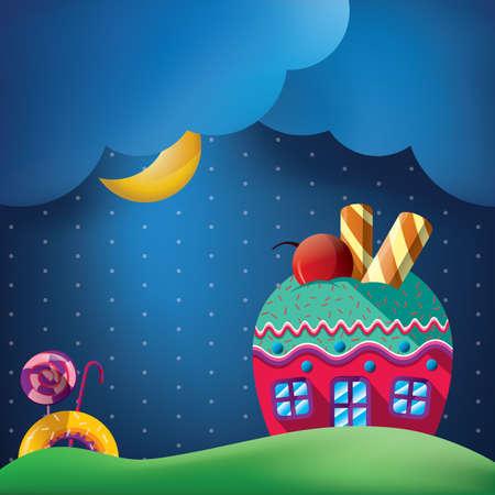 Fantasie cupcake thuis Stock Illustratie