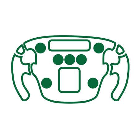 A race car steering wheel illustration.