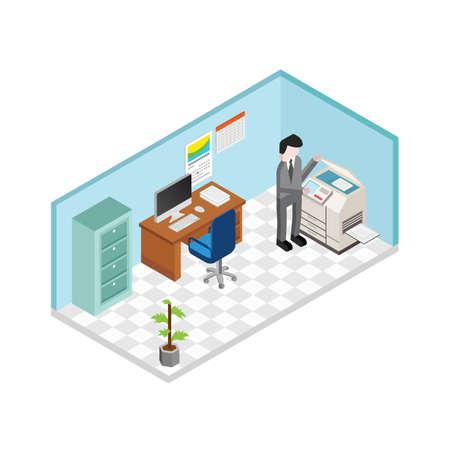 man werkende drukmachine in kantoor