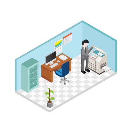man operating printing machine in office Illustration