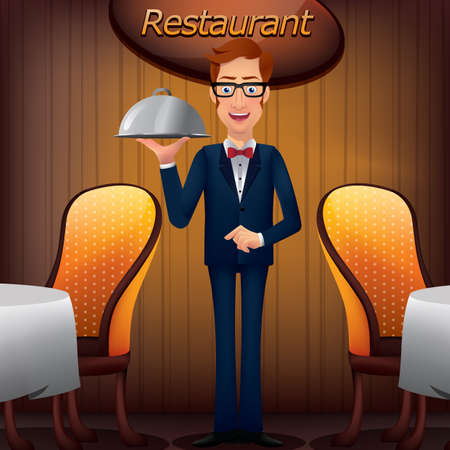 Waiter with cloche Illustration
