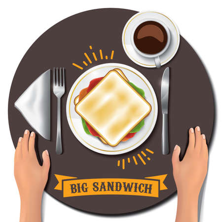 big sandwich on table with hands
