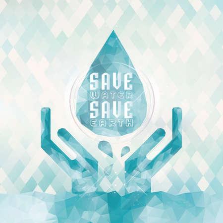 ahorrar agua salvar el concepto de la tierra Ilustración de vector