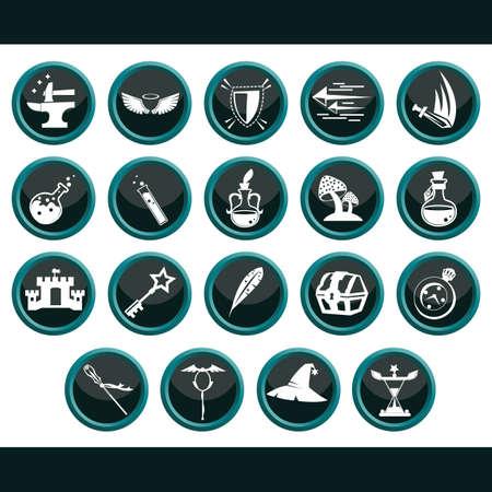 verzameling van geassorteerde fantasie iconen
