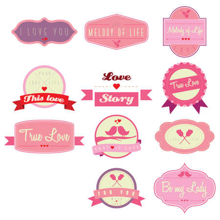 collection of love labels Stock Vector - 81536791
