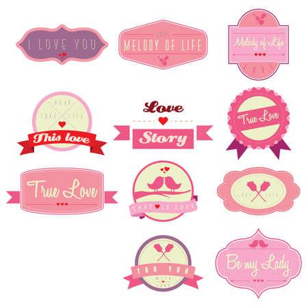 Verzameling liefde labels