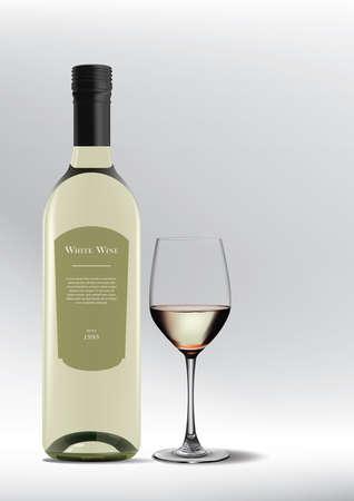 glass of white wine with bottle Illusztráció