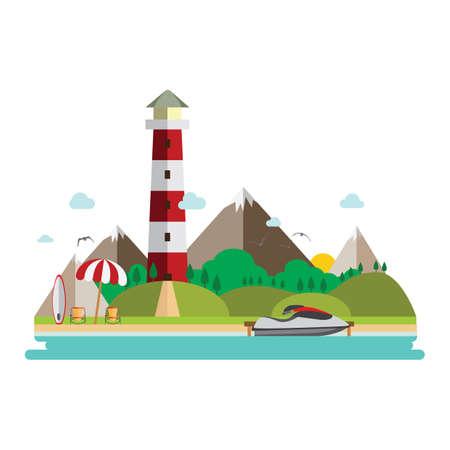 beach landscape Illusztráció