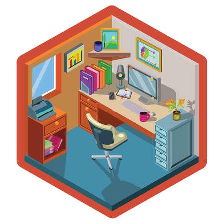 Interior design isometrico dell'ufficio