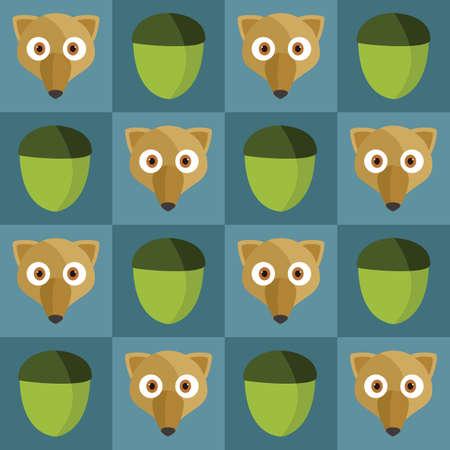 Eekhoorn en eikel achtergrond Stock Illustratie