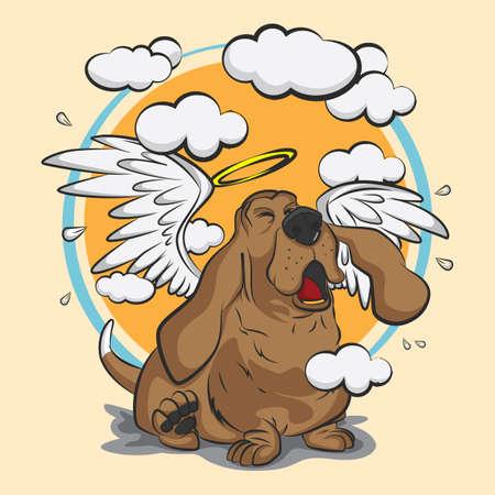 개가 천사 날개를 가지고있다. 일러스트