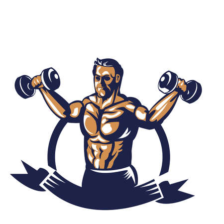 Bodybuilder levage affiche haltère Banque d'images - 81538887