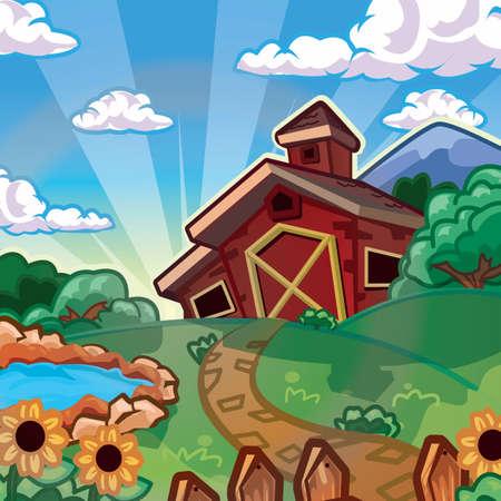 농가와 풍경 일러스트