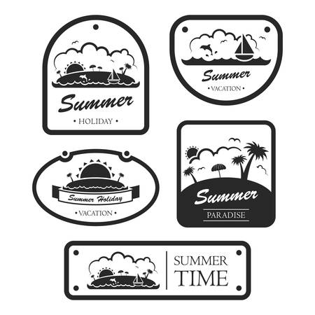 Collection of various summer holiday labels Ilustracja