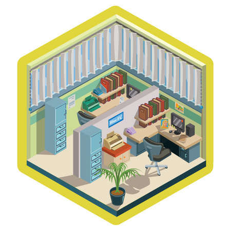Isometric office interior design