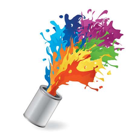 Cubo con salpicaduras de pintura