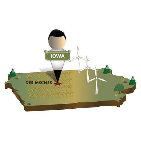 iowa state map  イラスト・ベクター素材