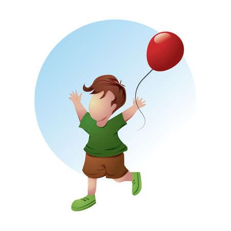 boy playing with balloon Çizim