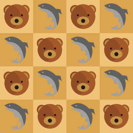 Bear and fish background Imagens - 81538192