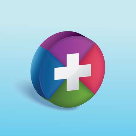 cirkeldiagram met plusteken Stock Illustratie