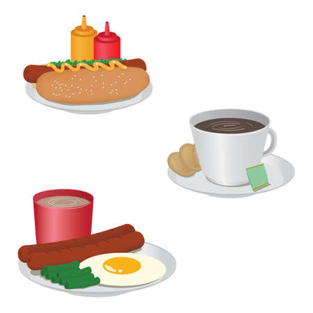 breakfast food collection Stock Illustratie
