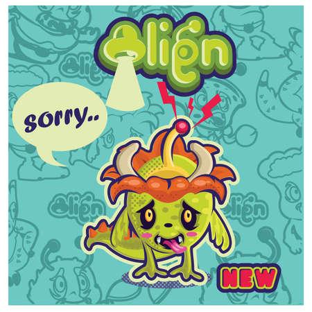 Disegno del personaggio alieno Archivio Fotografico - 81538203