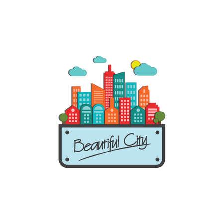 美しい街ラベル  イラスト・ベクター素材
