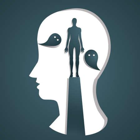 人間の心の概念  イラスト・ベクター素材